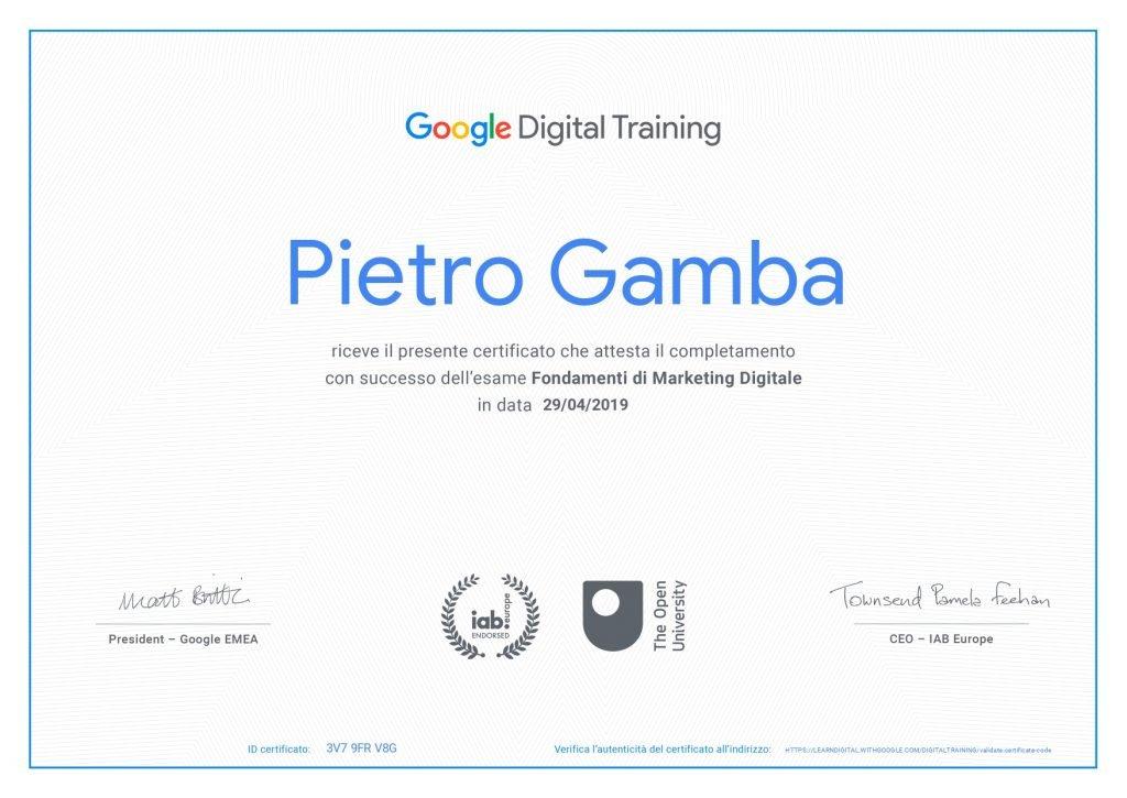 Certificazione Google Digital Training Pietro Gamba Social Media Manager