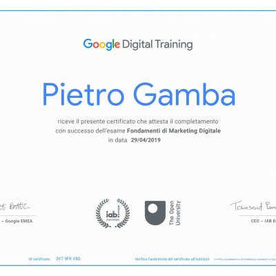 Certificazione Google Digital Training Pietro Gamba Social Media Manager